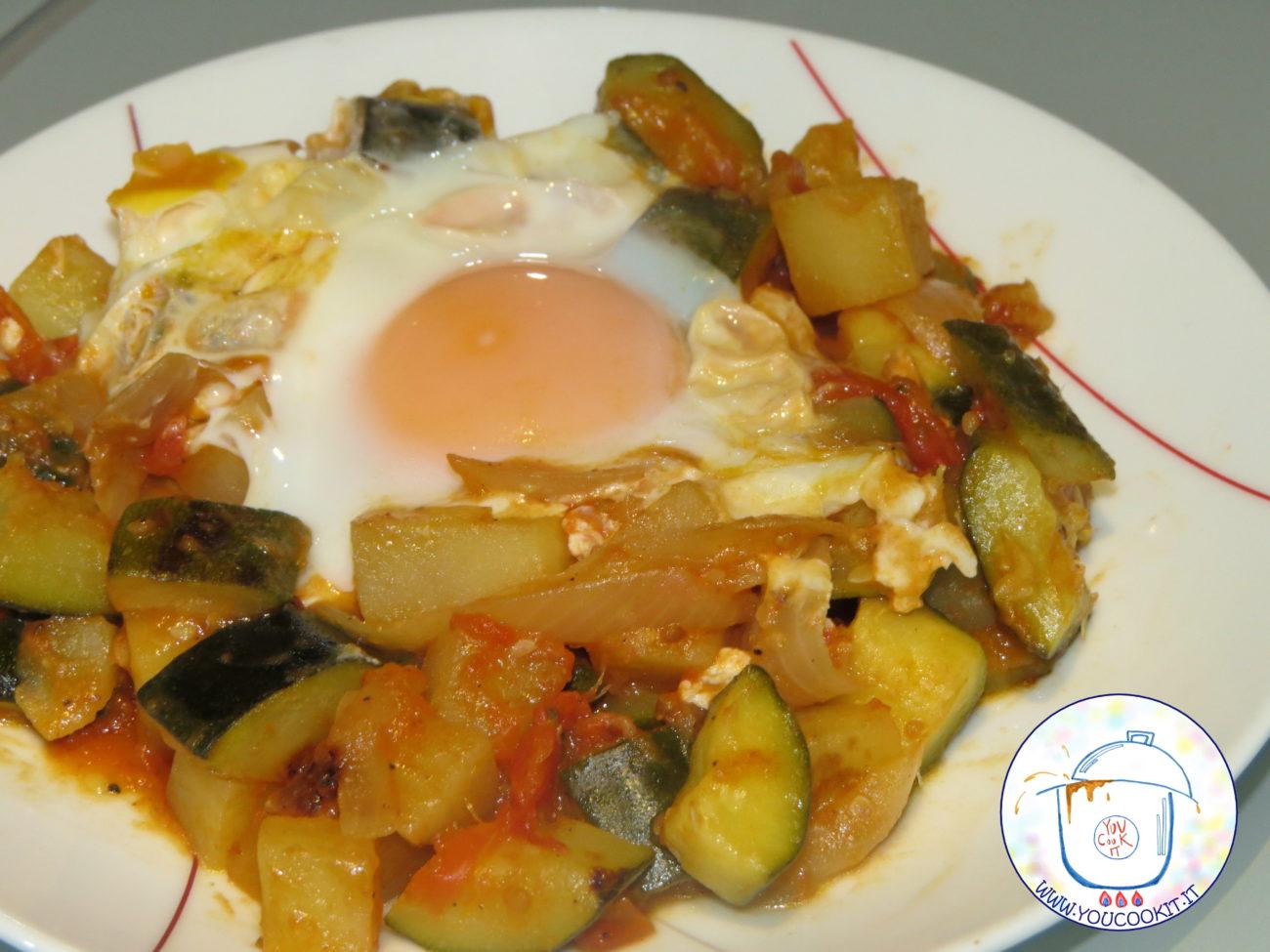 Zucchine e patate con l'uovo